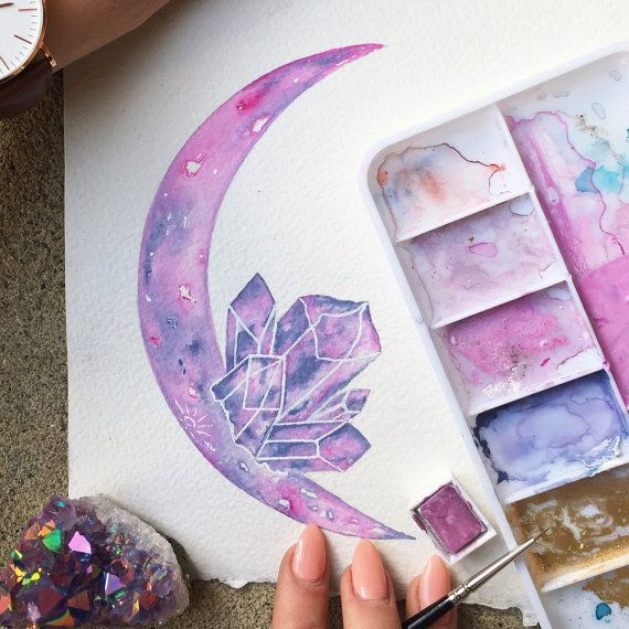 Watercolor Pastel Daydreams / Moon Art / Crystal by JessWeymouth