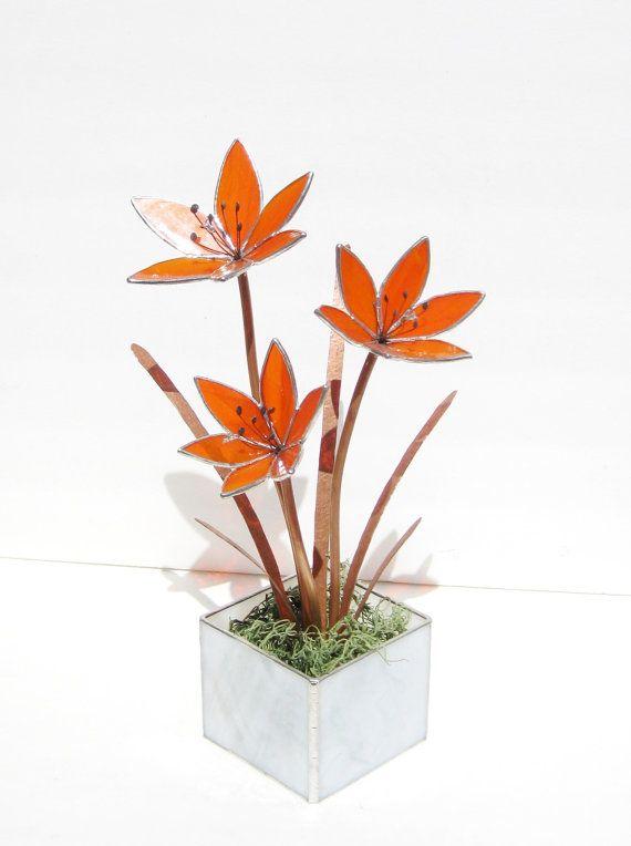 Hémérocalles en vitrail Bright Orange - fleur-sculpture industrielle - pièce maîtresse