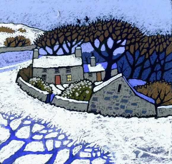 Lleuad Gaeaf by Chris Neale, Welsh, landscape artist--I love the blue tree shadows