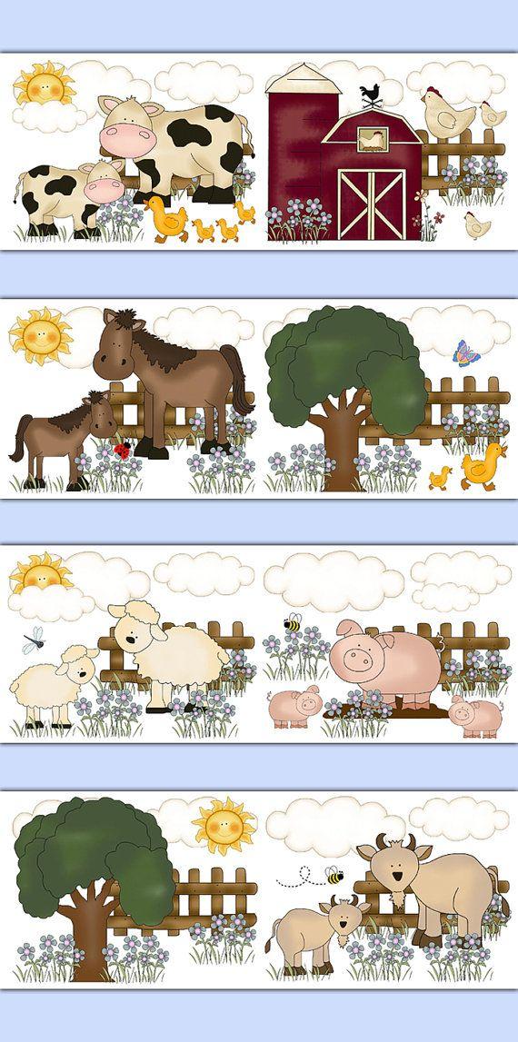 FARM NURSERY BORDER Decal Wall Art Barnyard Animal Stickers Decor Baby Girls Room Goat Cow Horse Pony Pig Sheep Ducks Chickens Decorations #decampstudios
