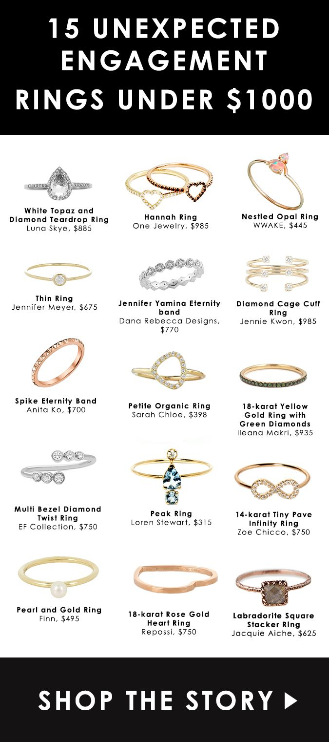 15 Unexpected Engagement Rings Under $1000