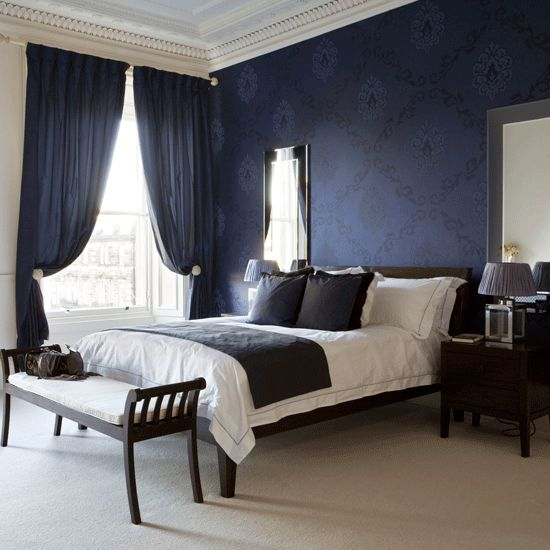 blue dark bedroom curtains ideas 528x528 Dark Blue Bedroom