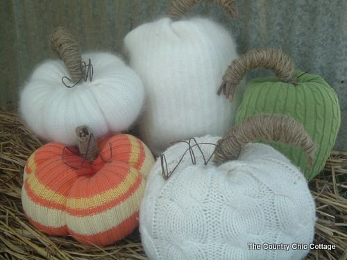 How to make sweater pumpkins -- no sewing! ~ The Country Chic Cottage