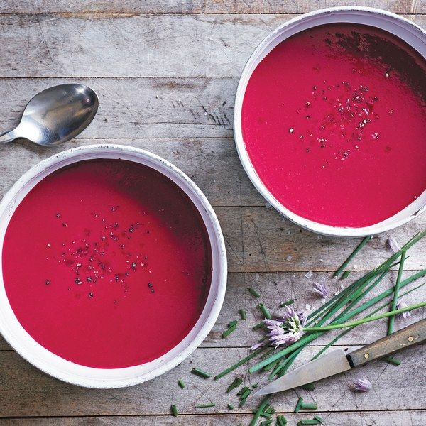There are many ways to make beet soup, the most well-known of all being borscht, the hearty Russian classic that also contains veggies like potatoes and cabbage. Beet soup can be eaten cold, so we like to make it with more delicate flavors and puree it. Here, the ginger beautifully balances the beet, and the coconut milk adds a nice fat component. We find citrus finishes this dish perfectly, so we garnish it with a bit of orange.