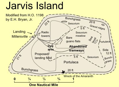 A simple map of Jarvis Island.