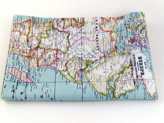 world map fabric  craft supply  yardage  map fabric  by chezlele, $17.50