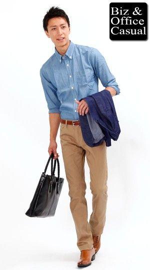 シャンブレーシャツ×チノパンツ クールビズスタイル biz14ss_3336【ビジネスカジュアル・オフィスカジュアルコーディネート~会社に着ていく私服・通勤服~】 - メンズファッション通販