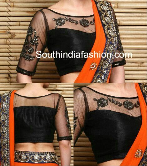 Pretty transparent net embroidary blouse...!