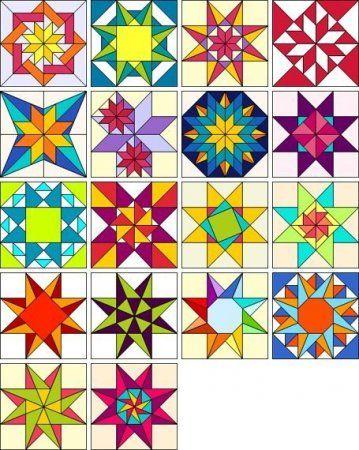 Большая подборка разноцветных блоков для лоскутного шитья, пэчворка и квилтинга
