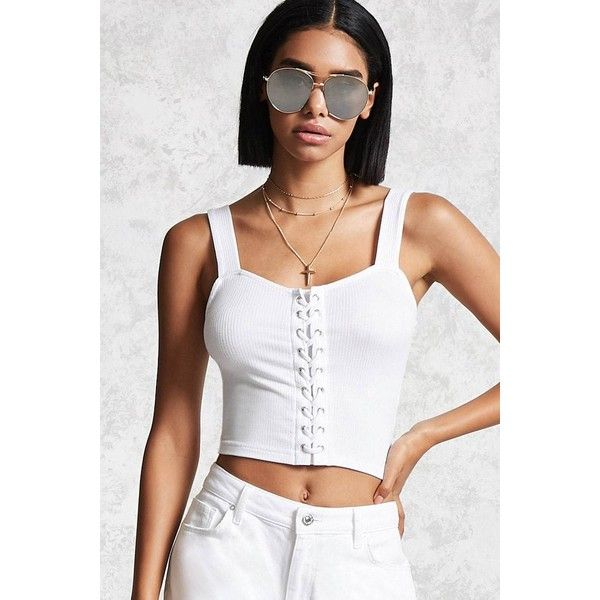 Forever21 Ribbed Lace-Up Crop Top ($11) ❤ liked on Polyvore featuring tops, white, forever 21, strappy top, white crop top, strap crop top and ribbed lace up top