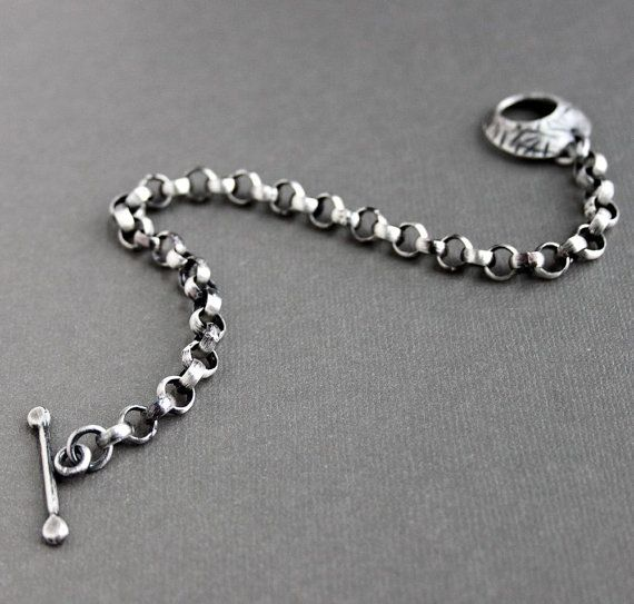 Men's Silver Bracelet Large Link Chain with by LynnToddDesigns