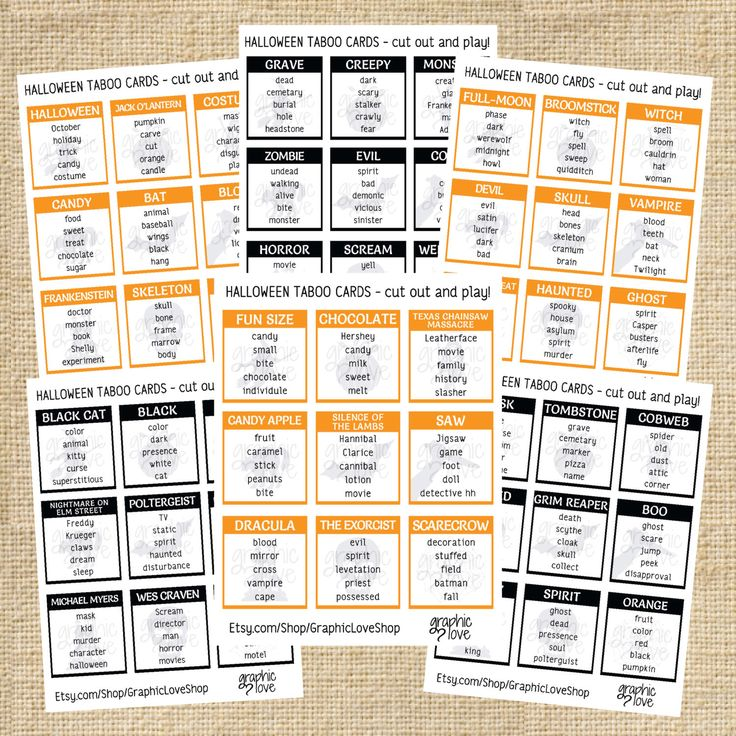 Halloween/Fall Taboo Game 54 Cards - PDF - Instant Download - Printable by GraphicLoveShop on Etsy https://www.etsy.com/listing/246707549/halloweenfall-taboo-game-54-cards-pdf