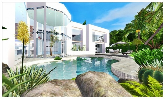 Lily residential lot by laura13 at lady venera sims 3 for Beach house designs for sims 3