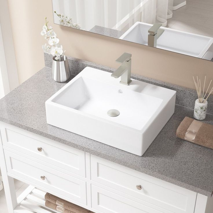 MR Direct V2502 White Porcelain Sink With Brushed Nickel Faucet And Popup  Drain (720 Faucet)