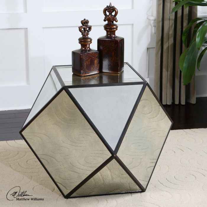 Shop For Uttermost Matty Mirrored Polygon Table, And Other Living Room  Tables At Furniture Showcase In Stillwater, OK. Aged Black Geometric Angles  With Red ...