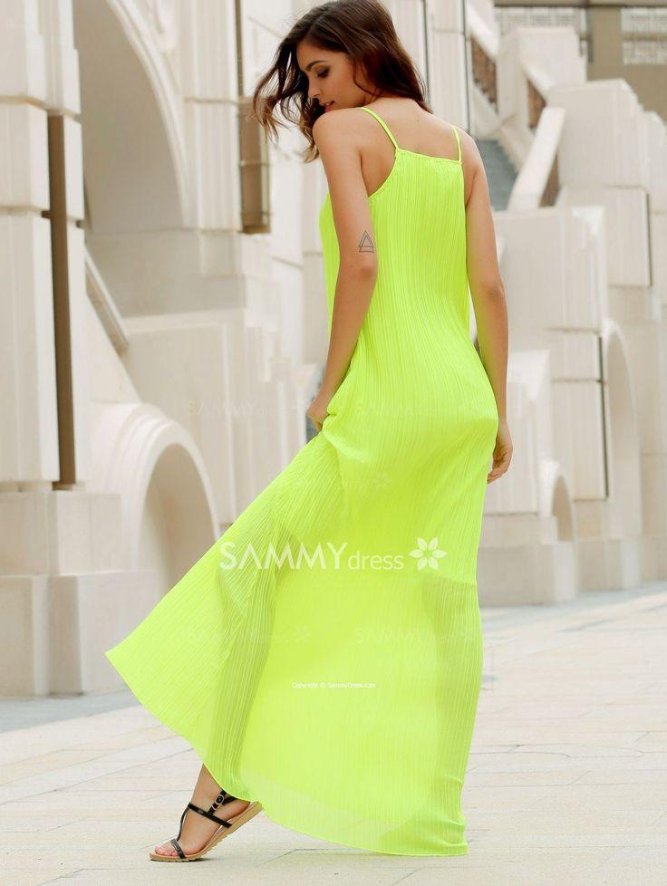 Solid Color Crumple Fashionable Round Collar Sleeveless Women's Maxi Dress in Neon Green | Sammydress.com