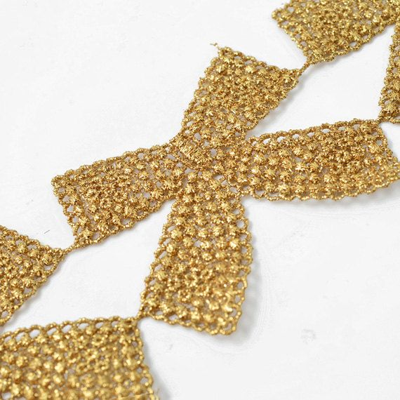 Metallic Bow Lace Trim for Bridal Costume or Jewelry Crafts