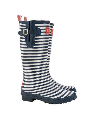 Adorable navy, striped wellies. This is the year I buy rain boots. Im tired of having soggy feet.