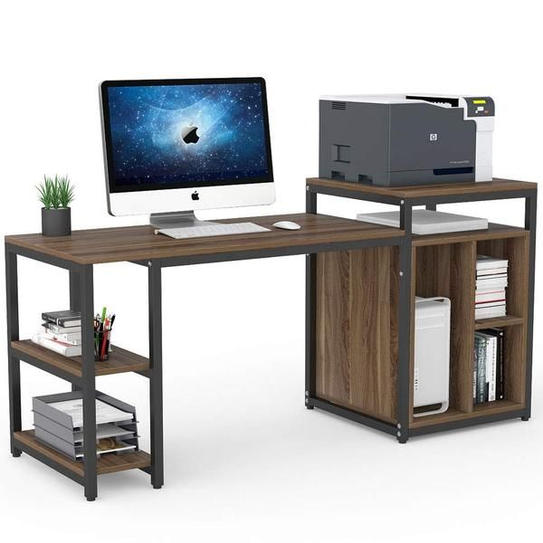 78 Extra Large Two Person Computer Desk With Shelf Double Workstatio Cliviaoffice Desk Storage Computer Desk Computer Desk With Shelves Computer desk with printer storage