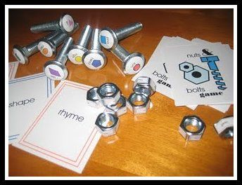 The nuts & bolts game for rhyming, opposites or shapes!