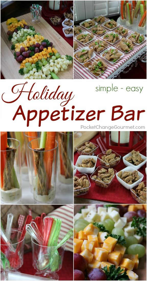 Get ready for the holidays! This Holiday Appetizer Bar couldn't be easier! It's looks impressive, but it's very simple. Visit our 100 Days of Homemade Holiday Inspiration for more recipes, decorating ideas, crafts, homemade gift ideas and much more!