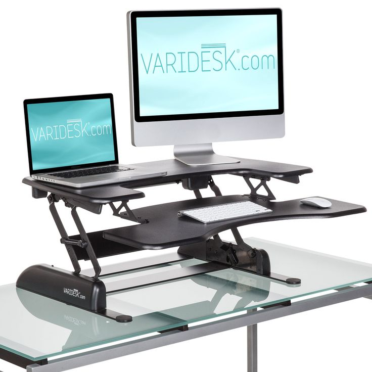 Varidesk Pro Plus The Adjule Riser Sits On Top Of Your Existing Desk Allowing You To Switch From A Seated Standing Position