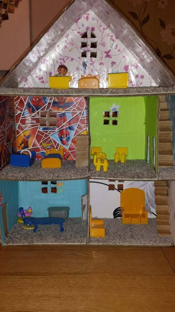 Cardboard box doll house