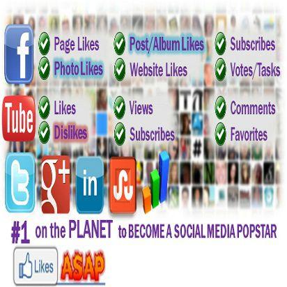 Este un site social exchange unde persoanele inscrise  pot sa dea  like-uri , sa  vizioneze clipuri pe you tube, sa urmareasca persoane pe twitter, instagram , pinterest  etc iar in schimb  acestia primesc puncte , puncte ce se pot transforma in bani sau se pot  folosi  in obtinerea   de noi  fani , cu alte cuvinte cu LIKESASAP ai numai de castigat! link inregistrare: http://likesasap.com/register.php?ref=25514562