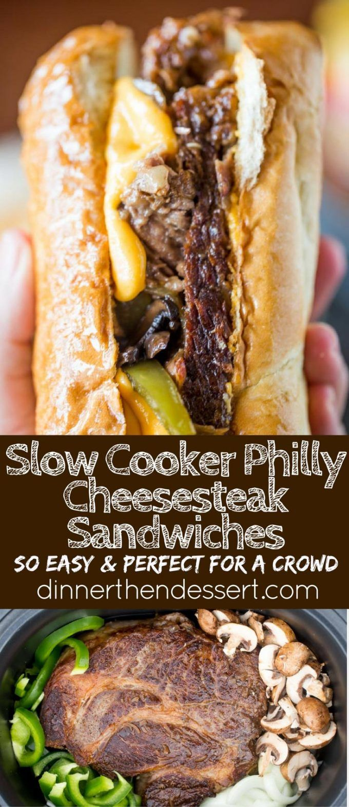 Slow Cooker Philly Cheese Steak Sandwiches that are so tender and flavorful you'll feel like you're in Philly. Perfect for a crowd!