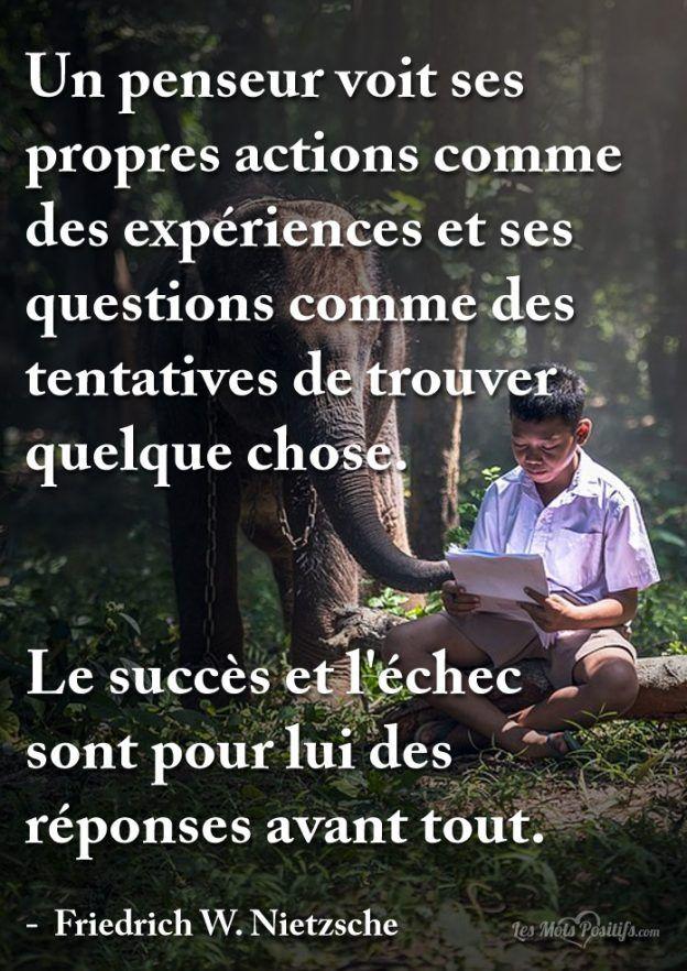Un penseur voit ses propres actions comme des expériences et ses questions comme des tentatives de trouver quelque chose. Le succès et l'échec sont pour lui des réponses avant tout. – Friedrich W. Nietzsche
