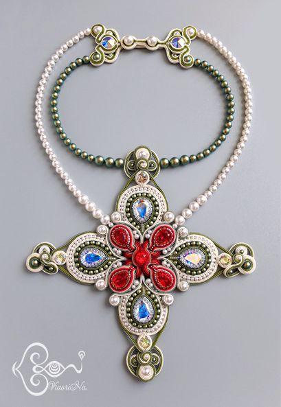KaoriNa.ソウタシエ刺繍ネックレス♪ Soutache Jewelry by KaoriNa.