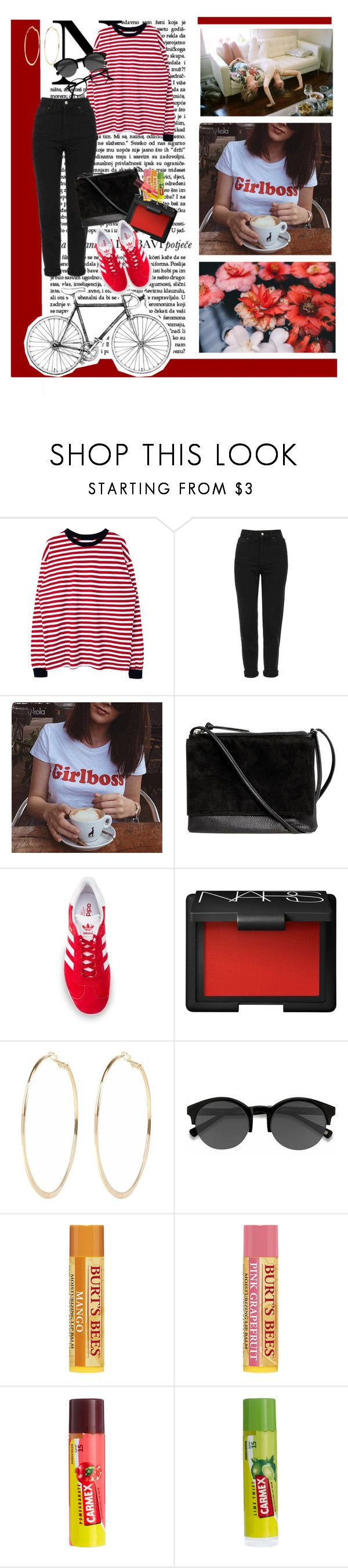 """Untitled #1223"" by my-pretty-pony ❤ liked on Polyvore featuring Lauren Ralph Lauren, Topshop, Berta, H&M, adidas Originals, NARS Cosmetics, River Island, EyeBuyDirect.com, Carmex and summerstyle"