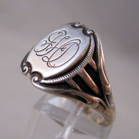 1800s Victorian Sterling Signet Ring Size 12 Mens Unisex