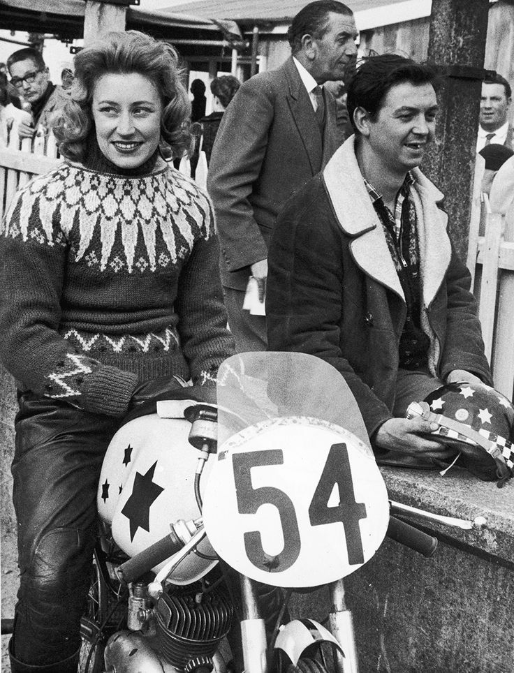 Beryl Swain, the first woman to compete as a solo entrant in the annual TT race on the Isle of Man, on her 50cc motorbike, 1962.