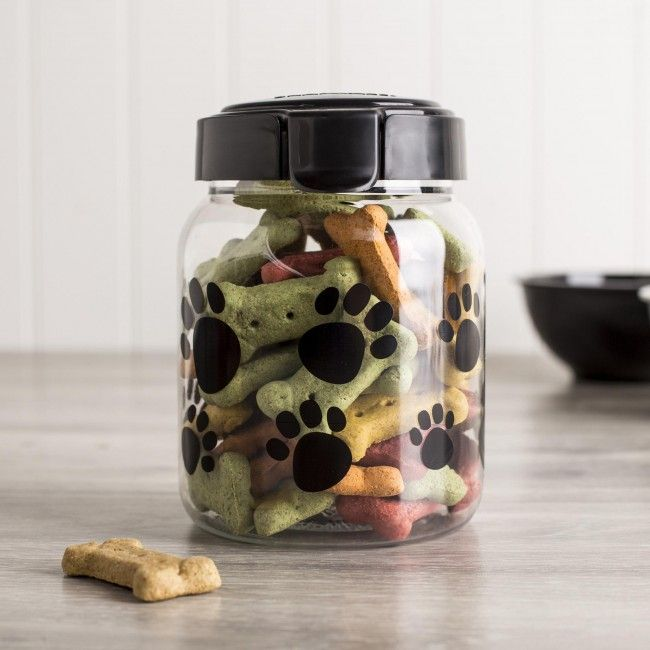 Snapware Pet Treat Canister with Black Paw Print. Snapware specializes in storage and organization solutions for the home and kitchen (dry and wet foods, crafts, seasonal storage, industrial, pet, garage, closet and more). Snapware Plastic Pet Canisters are perfect for keeping treats on-hand and fresh. Snap lock lid with silicone seal opens and shuts easily.