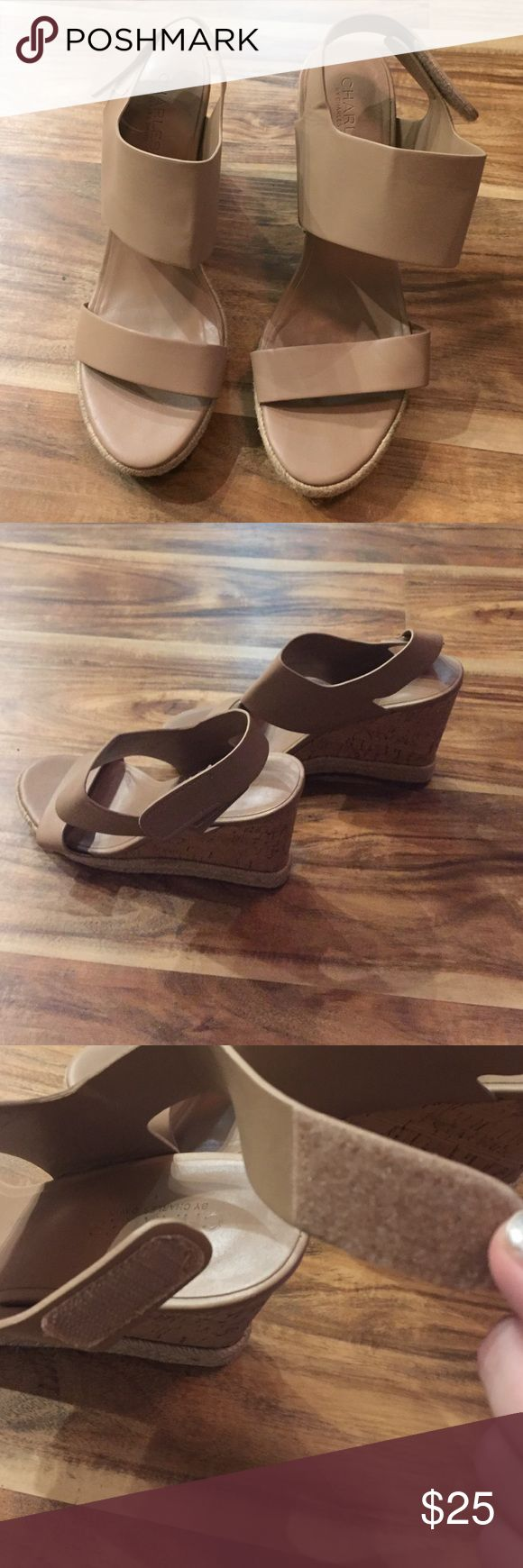 CHARLES DAVID NUDE WEDGES WORN A COUPLE TIMES. COMFORTABLE WEDGES. Charles David Shoes Wedges