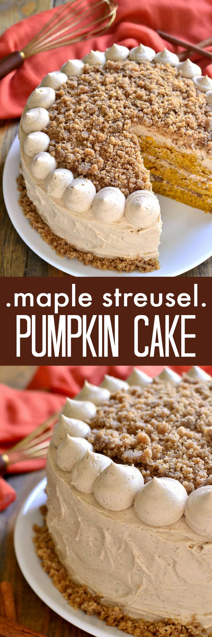 Moist, delicious pumpkin cake, layered with maple cinnamon buttercream and crunchy streusel. Perfect for Thanksgiving or any fall celebration!