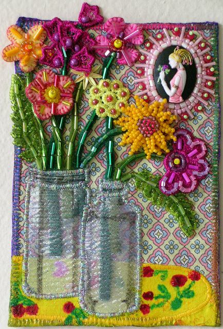 "Applique and beading - fabric postcard - ""Kitchen Table Flowers"" Postcard"