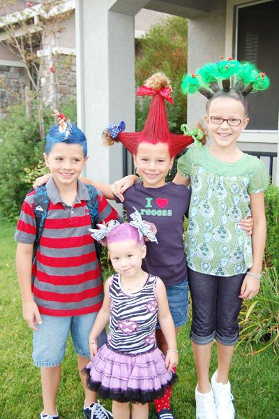 """Another pinner wrote, """"Crazy Hair Day ideas for kids, a lot of schools have this day during Spirit Week each year.""""-- WOW! not sure i'd be brave enough to send my kids to school looking like this! lol"""