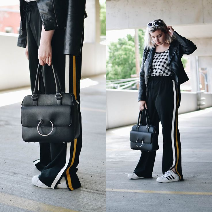 Elizabeth Claire - Target Black Ring Bag, Mudd Faux Leather Jacket, Princess Vera Wang Gingham Tank, Whowhatwear X Target Racing Stripe Track Pants, Adidas Superstars - JW... JK