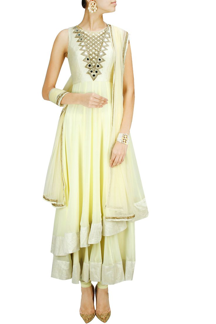 Light yellow two-layered mirror work anarkali set BY ARPITA MEHTA. Shop now at: www.perniaspopups... #perniaspopupshop #amazing #beautiful #clothes #style #designer #fashion #stunning #trend #new