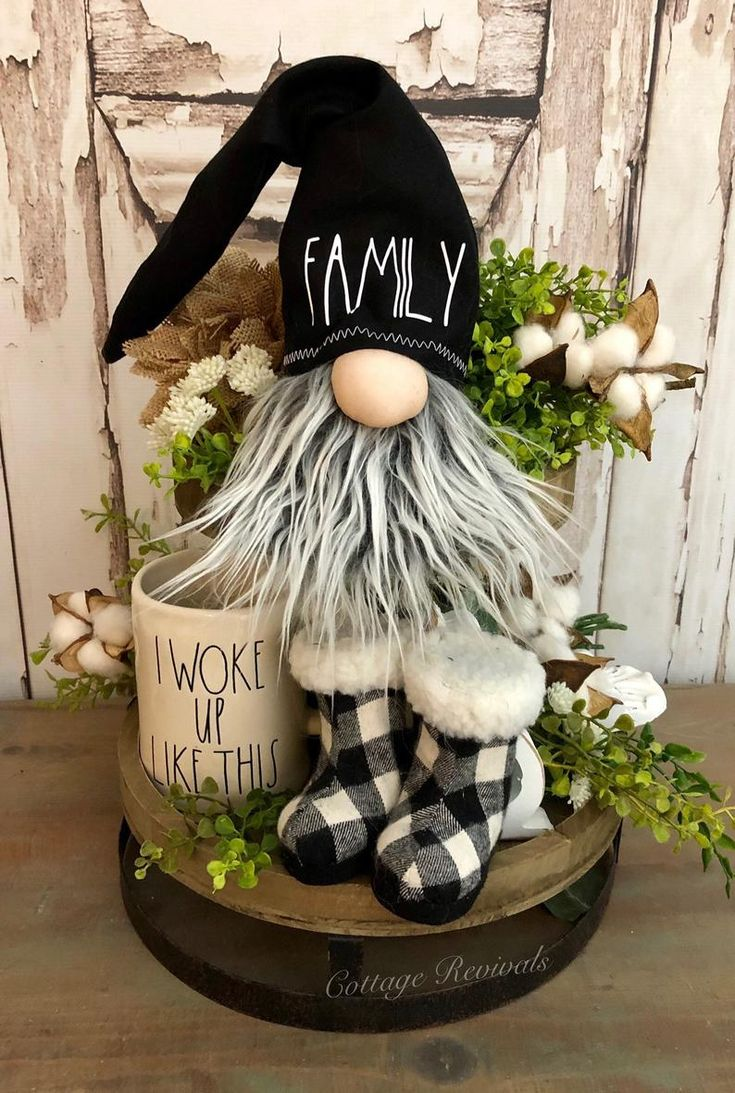 FAMILY Farmhouse Gnome with Black Hat. Gnome with Gray