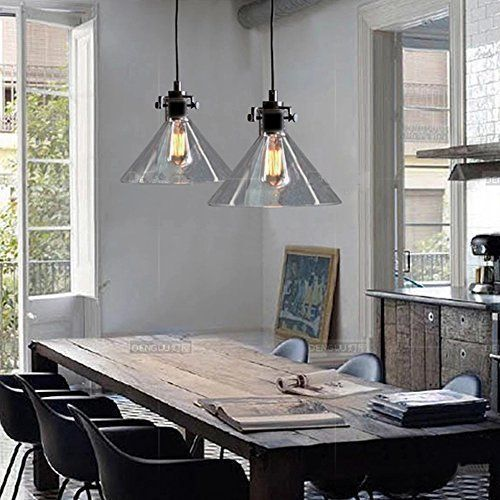 BuyeeR Vintage Industrial Edison Classic Funnel Glass Shade Dinning Room Hanging Pendant Light
