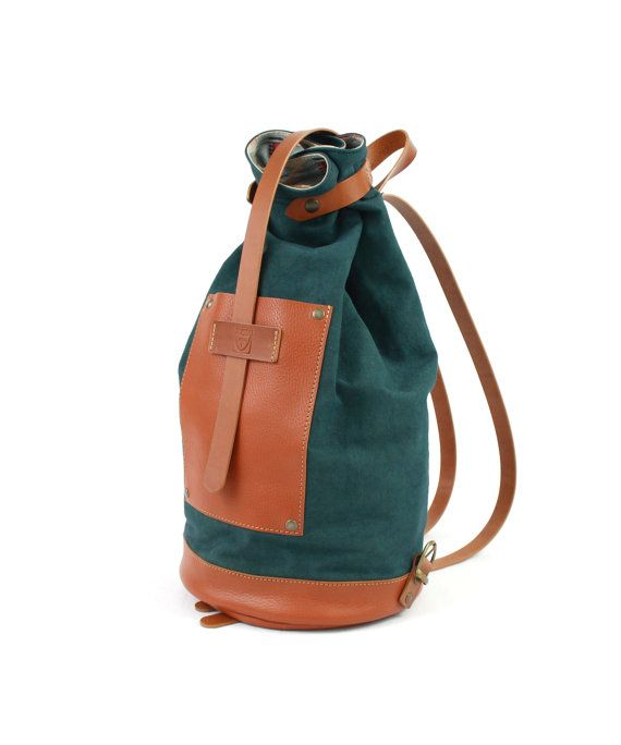 Full grain LEATHER BACKPACK Green canvas backpack Bags by ElMato