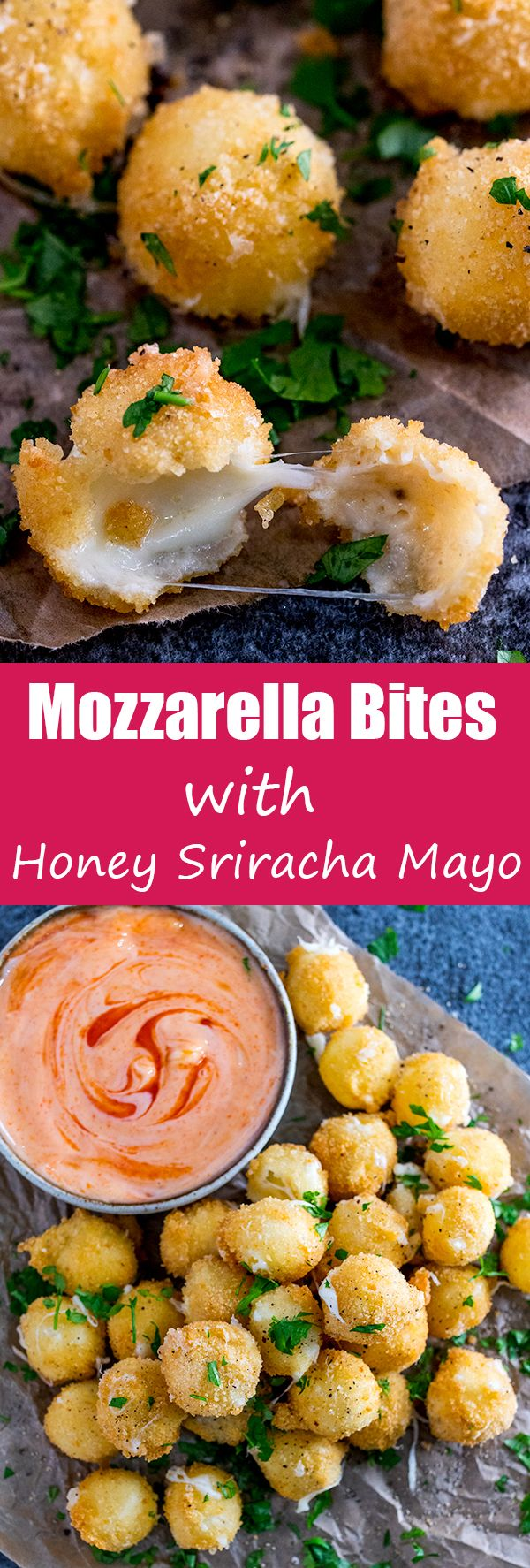 Make these CRISPY MOZZARELLA BITES with HONEY SRIRACHA MAYO for parties, game day or an awesome snack time treat!