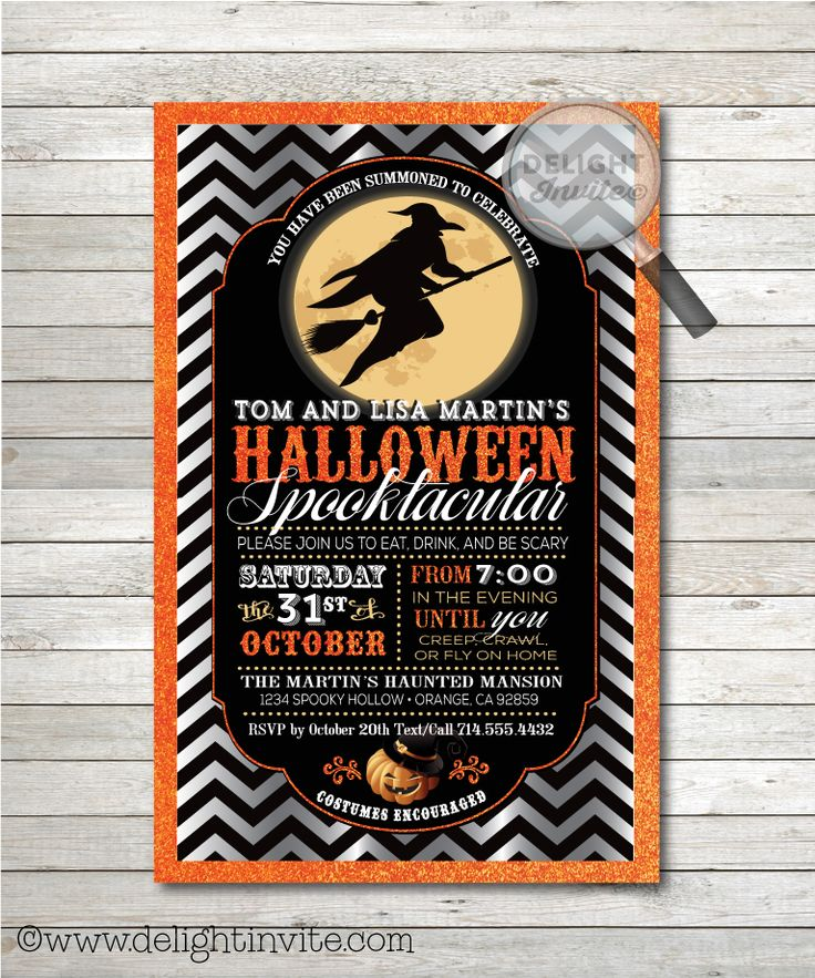 8 best Vintage Retro Halloween Party Invitations! images on ...