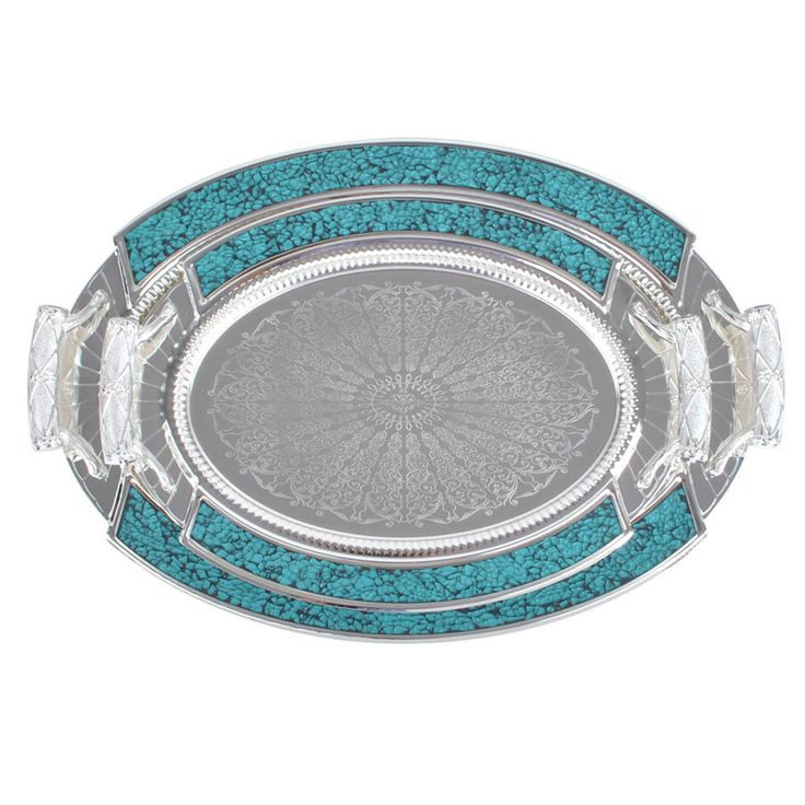 Two turquoise bands line the sides of these trays to add a dose of Southwestern style to your decor. Crafted with a mirrored finish, these beautiful serving trays are finished in a decorative silvertone color.