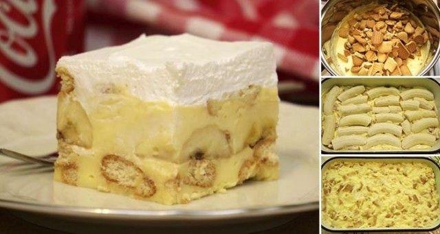 Výborný a rychle udělaný nepečený dezert. Příprava trvá jen 15 minut. Po tom co stuhne si vychutnáte jeho dokonalou chuť! Budeme potřebovat: 300g - máslové sušenky 3ks - vanilkový pudink 9 lžic - cukr 1 l - mléko 200 g - máslo 4 lžíce - zakysaná smetana 4 - 5 ks - banány 200 ml - smetana