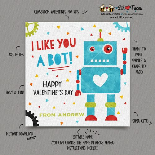 INSTANT DOWNLOAD - EDITABLE Valentine's day Cards I like you a bot Valentine kids Valentine's Day cards Valentine's classroom Card Robot Valentines day Cards