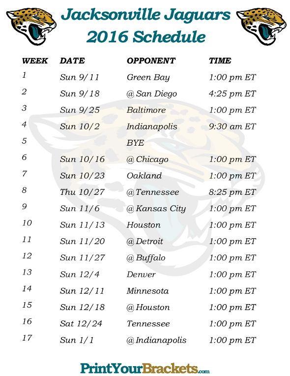 Printable Jacksonville Jaguars Schedule - 2016 Football Season